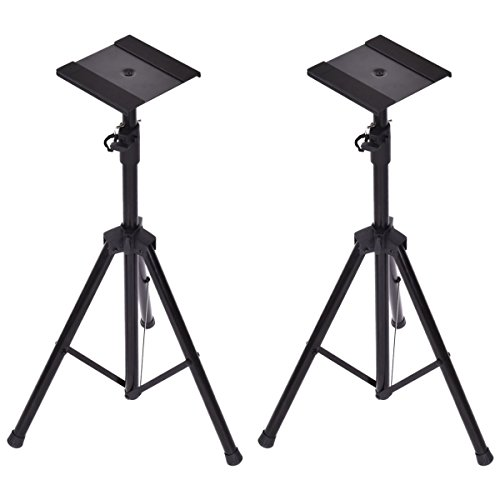 Costzon Speaker Stand Tripod Height Adjustable Design Studio Monitor Floor Stand, Set of 2
