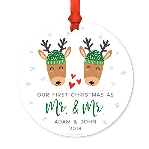 Andaz Press Personalized Gay Couple Wedding Metal Christmas Ornament, Our First Christmas as Mr. & Mr. 2019, Holiday Reindeer Snowflakes, 1-Pack, Includes Ribbon and Gift Bag, Custom Name