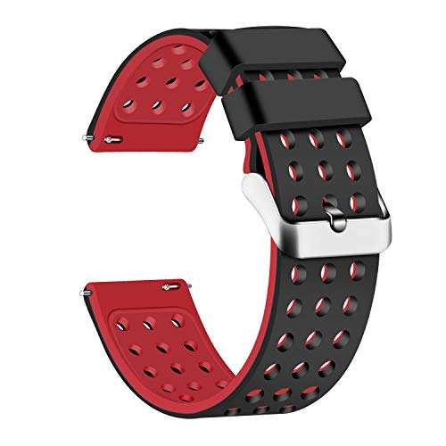 Lwsengme Silicone Quick Release - Choose Color & Width (18mm, 20mm,22mm) - Soft Rubber Watch Bands (Black/Red, 18mm)