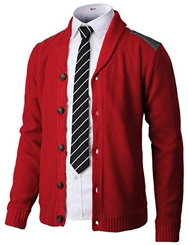 - H2H Mens Classic Shawl Collar Button Up Cardigan with Shoulder Point RED US M/Asia L (CMOCAL028)