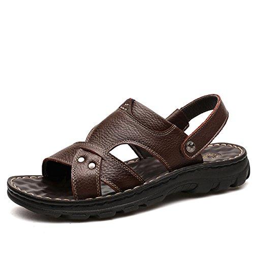 Pelle Sandali Uomo Da Dimensioni Da New In Estate Scarpe Pantofole Marrone Uomo Scarpe Casual Padre Spiaggia 2018 E Grandi WKNBEU Nero Giallo nIYEqfAx5