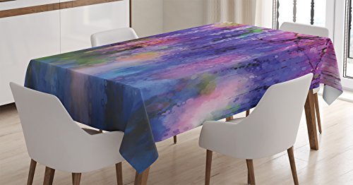 Ambesonne Watercolor Flower Home Decor Tablecloth, Misty Vogue Wisteria Back Tree Branches Defocus Nature Print, Dining Room Kitchen Rectangular Table Cover, 60W X 84L inches, Violet Pink