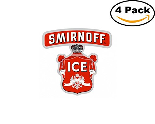 Beer Red Smirnoff Ice Logo 4 Stickers 4X4 Inches Car Bumper Window Sticker Decal