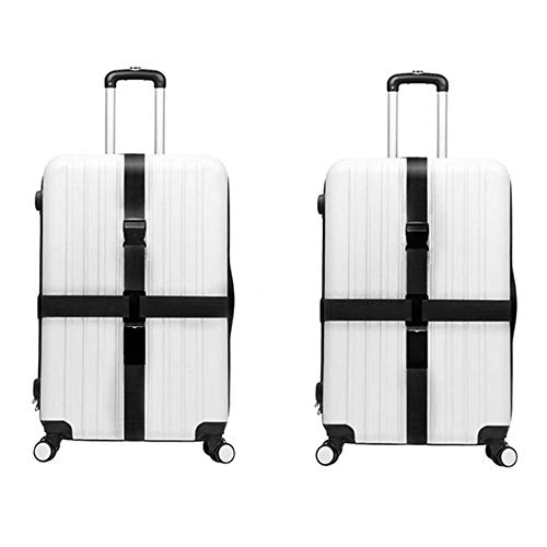 Classic Luggage Strap - JYHY Adjustable Luggage Strap Travel Suitcase Baggage Packing Belt Long Cross Straps,Black 2 PACK