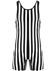 Moily Mens One Piece Striped Wrestling Singlet Bodysuit Workout Fitness Swimsuit Swimming Shorts