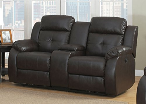 AC Pacific Troy Collection Modern Upholstered Leather Transitional Reclining Loveseat with Storage Console, Cup Holders, and Dual Power Recliners, Espresso