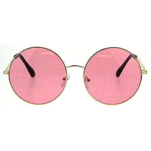 Classic Oversize Joplin Style Hippie Round Circle Lens Sunglasses (Gold Pink, ()