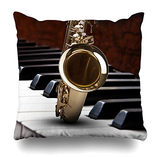 Ahawoso Decorative Throw Pillow Cover Classic Party Saxophon Piano Music Backround Saxophone Entertainment Brass Instrument Classical Clear Home Decor Pillowcase Square Size 16