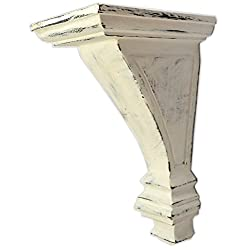 CinMin 10.5 Handcarved Art Deco Corbel Wood Wall Bracket/Floating Shelf (Torino-Antique White)