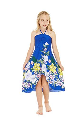 Girl Hawaiian Halter Dress in Rafelsia Border Blue Size 8