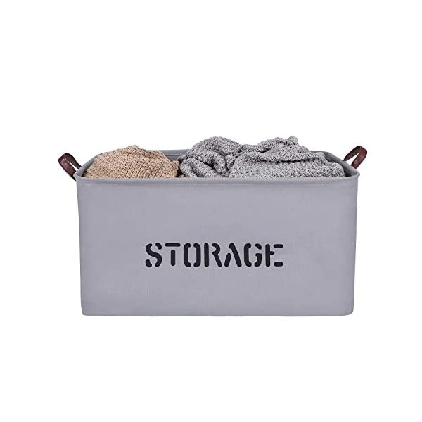 Extra Large Storage Basket, Collapsible Canvas Basket, Foldable Woven Organizer Bin for Toys, Kids, Pets, Blankets, Laundry, Shoes, Closet, Rectangular by Braided Crown (Grey)