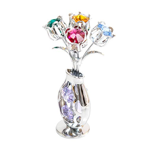 (Chrome Plated 5 Flowers in Vase Free Standing with Mixed Studded Stunning Crystals)