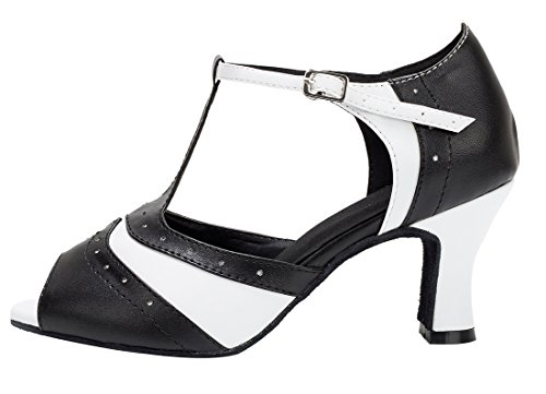 Black Women's strap Tango White Ballroom Fashion Dance Wedding 7cm Salsa Toe Shoes T Modern Peep Latin TDA Leather Heel PU gBwUSqSd