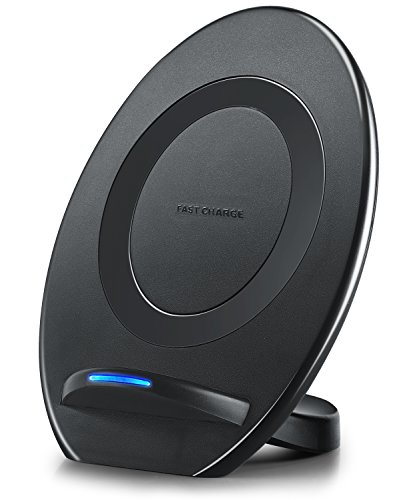 Wireless Charger,Qi-Certified Fast Wireless Charging Pad Stand for Galaxy S9/S9+ Note 8/5 S8/S8 Plus S7/S7 Edge S6 Edge Plus,Standard Charge for iPhone X iPhone 8/8 Plus-NO AC Adapter