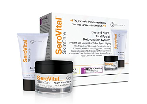 SeroVital Day and Night Total Facial Rejuvenation System - Cream Ready to Visibly Lift, Tighten, and Firm Skin, Improve the Look of Wrinkles and Crow's Feet, (1.5/1.3 oz.) (Day Cream Rejuvenation)