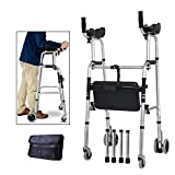 Elderly People Standard Walkers Foldable Walker Adjustable Walking Assist Equipped Wheels Equipped with Arm Rest Pad for The Limited Mobility with Disabled,FourWheels+Seats+Bag