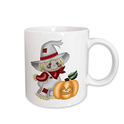- 3dRose Anne Marie Baugh - Illustrations - Cute Smiling Scarecrow With A Pumpkin Illustration - 15oz Two-Tone Blue Mug (mug_317966_11)