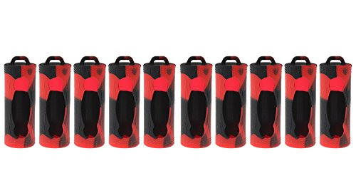 Rayley Protective Silicone Sleeve Case Cover For 26650 Batteries (10-Pack) (Black Red) by Rayley