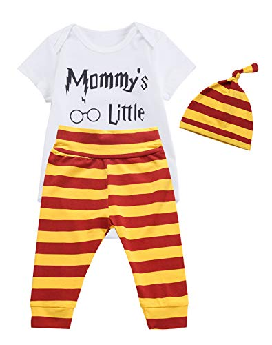 3PCS Outfit Set Baby Boys Girls Mommy's Little Short Sleeve Bodysuit (6-12 Months, white) ()