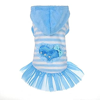 b15742c5edda Buy Pinkdose® Blue, S: Warm Cute Pet Dog Clothes Cute Fashion Pink Blue  Color Dog Dress Small Dog Clothes Puppy Striped Skirts Clothes New Online  at Low ...