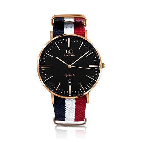 Gelfand & Co. Unisex Minimalist Watch Red/White/Blue NATO Strap Suffolk 40mm Rose Gold Black ()