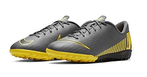 (Nike Jr. VaporX 12 Academy Turf Soccer Shoes (3.5 M US Big Kid, Dark Grey/Black-Opti Yellow) )