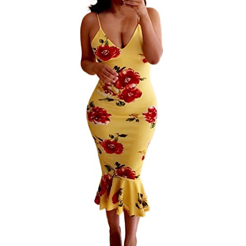 Price comparison product image Clearance! Women Sexy Spaghetti Strap Floral V-Neck Bodycon Dress Fishtail Party Club Cocktail Midi Dress (Yellow,  L)