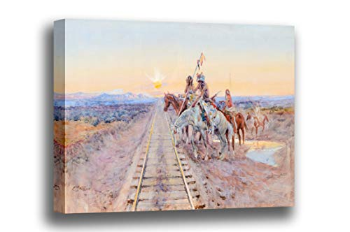 Canvas Print Wall Art - Trail of The Iron Horse- by Charles Marion Russell - Giclee Prints Stretched in Gallery Wrap Style with Mirrored Edges - 18x12 - Iron Horse Trail