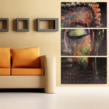 Amazon.com: FNK-40x60cm Buddha Statues Triple Frameless Canvas ...