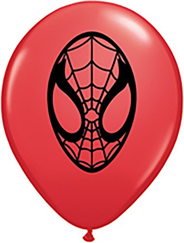 """Qualatex Marvel Spiderman Face 5"""" Round Balloons, Red - Pack of 100"""