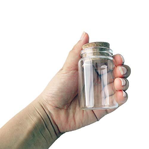 2pcs Empty Clear Glass Bottles Vials With Cork Stopper Storage Jars 47mm Bottle Diameter (47x70x33mm 80ml)