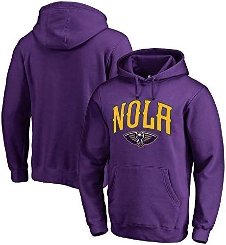 バスケットボールパーカーNBAニューオーリンズペリカンズチームスポーツジャケットバスケットボールジャージスウェットシャツトップス (Color : Purple, Size : Small)