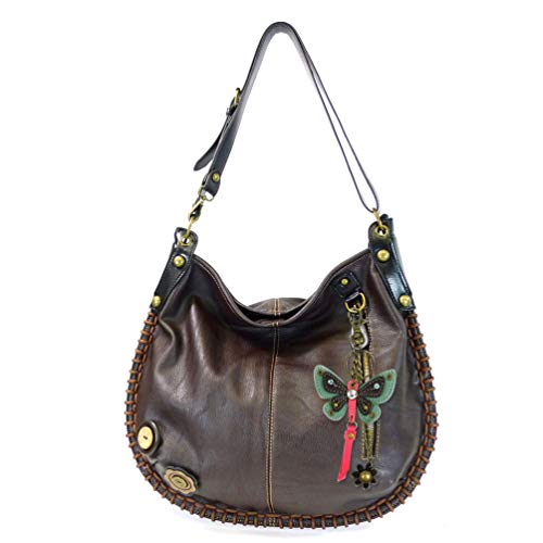 Butterfly Key Fob - Chala Handbag Charming Hobo Crossbody Large Tote Bag with Teal Butterfly Charm (Dark Brown)