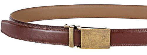 """Marino Avenue Men's Genuine Leather Ratchet Dress Belt with Linxx Buckle, Enclosed in an Elegant Gift Box - Gold Vintage Buckle W/ Brown Leather - Adjustable from 28"""" to 44"""" Waist"""