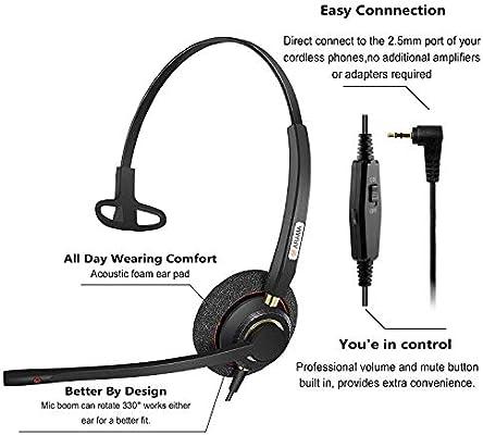 Arama A800MP Auriculares Teléfono Fijo 2,5 mm Mono, Cancelación de Ruido Micrófono, Control de Volumen, Cascos Teléfono inalámbrico para Panasonic Polycom Grandstream Gigaset Cisco Linksys SPA Zultys: Amazon.es: Electrónica