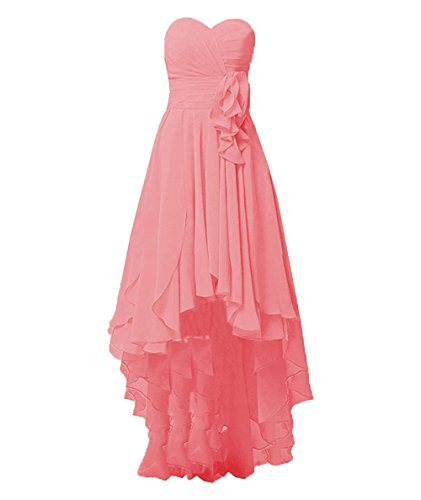 Lo Bridesmaid Dresses Hi Chiffon High Low Gowns Cdress Prom Evening s Wedding Women Coral nx4w8CIqF