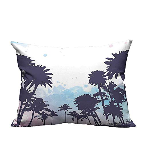 YouXianHome Decorative Throw Pillow Case Miami South American Plant Forest Tropic Natural Palm Trees Art Print Blue and Ideal Decoration(Double-Sided Printing) 13x17.5 -