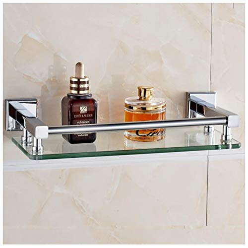 Bathroom Glass Shelving Tempered Glass Shelf Mirror Front Washbasin Single Wall Hanging (Size : ()