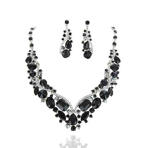 SP Sophia Collection Women's Wedding Bridal Austrian Crystal Necklace and Earrings Jewelry Set in Black (Black Green Jewelry Set)