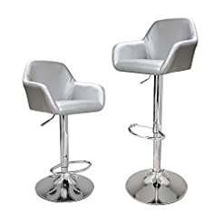 Kitchen Modern Silver Grey Set of 2 Height Adjustable Hydraulic PU Leather Bar Stool Pub Chair Kitchen Island Counter, with… modern barstools
