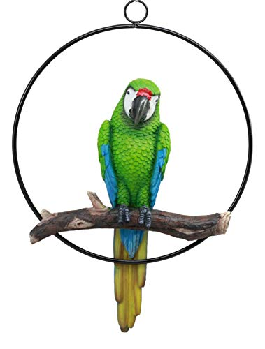 Ebros Patio Home Garden Hanging Scarlet Macaw Parrot Perching on Branch in Metal Round Ring Figurine Sculpture Nature Lovers Tropical Bird Collectors Decor 13.5″ H (Green)