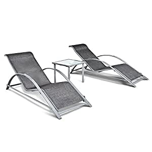 IKayaa 3PCS Patio Chaise Lounge Chair W Table Outdoor Iron Sun