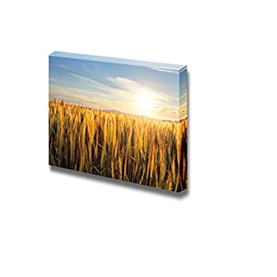 Canvas Prints Wall Art - Beautiful Scenery/Landscape Sunset Over Wheat Field | Modern Home Deoration/Wall Art Giclee Printing Wrapped Canvas Art Ready to Hang - 24