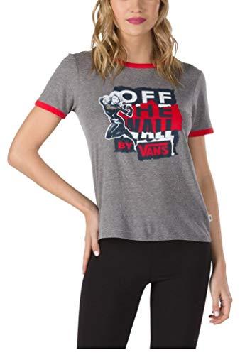 - Vans Women's X Captain Marvel Ringer Tee T-Shirt in Grey Heather Racing Red (Small)