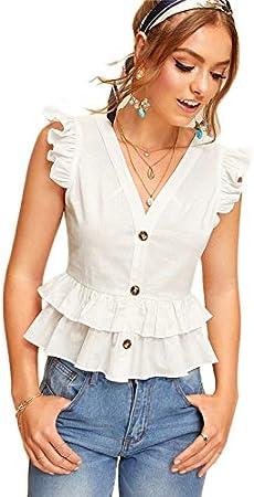 NANADEDIAN T-Shirt Camiseta Moda Botón Blanco Frente Capa De ...
