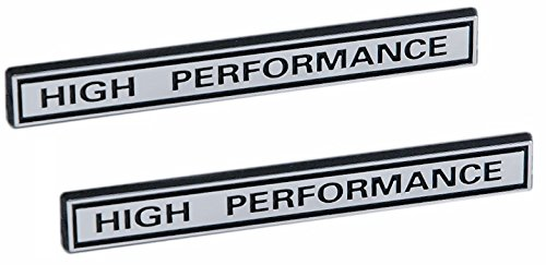 "HIGH PERFORMANCE Racing Engine Emblems in Chrome & Black - 5"" Long Pair"
