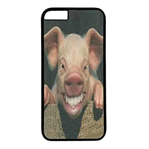 Custom Case Cover For iPhone 6 Plus Black PC Back Phone Case Hard Single Shell Skin For iPhone 6 Plus With Happy Pig