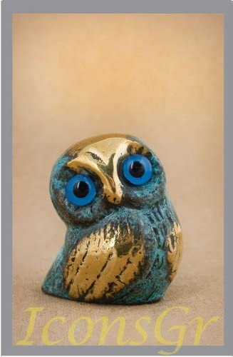 Ancient Greek Bronze Museum Statue Replica of Owl Symbol Athena Goddness