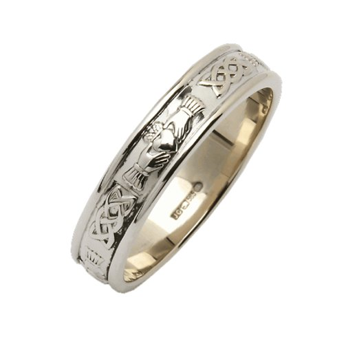 Ladies Claddagh Wedding Ring 14K White Gold Irish Made 8.5