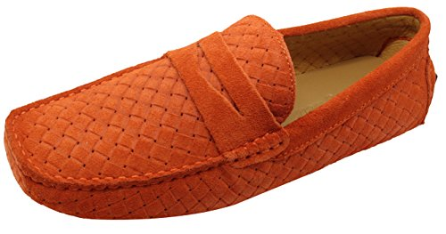 Santimon-mens Casual Comfort Genuine Nubuck Leather Outdoor Low Boat Shoes Moccasin Loafers Orange SDaV2wb4G
